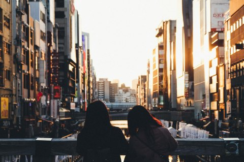 Street photowalk. Sunset in Dotonbori.